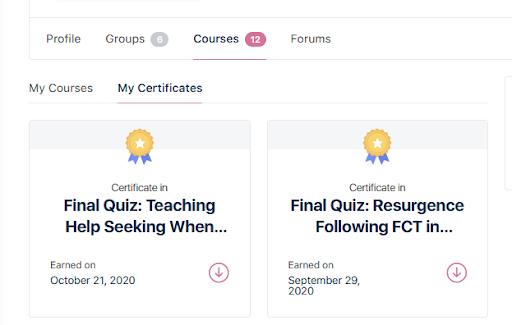 certificates in profile