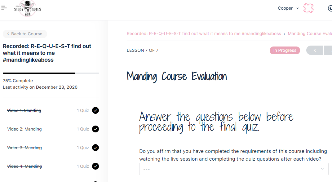 Recorded Course Evaluation