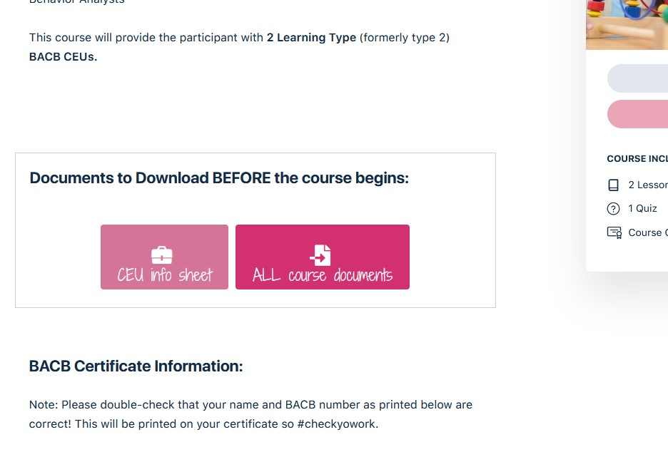 Screenshot Download Course Documents